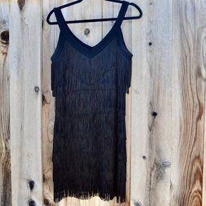 WHBM Black Tassel Dress - Tiered Fringe Mini Dress